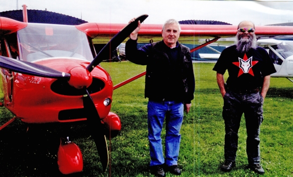 G-YOLO owner John Mann (L) with UK Aeroprakt agent Ray Everett (R) - click picture for article