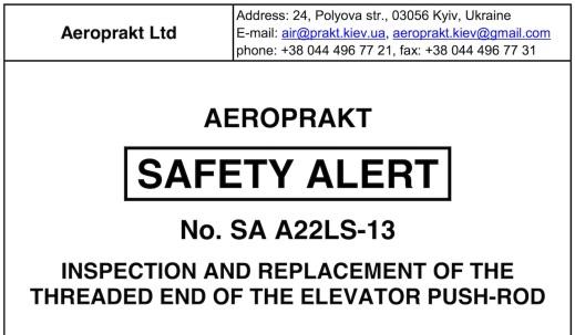 Safety Bulletin elevator rod end